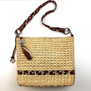 Brighton Straw Bag with Woven Leather Stap